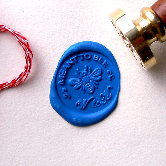 Meant to Bee Wax Seal Stamp Initials Custom Order for Wedding on Etsy, $20.00
