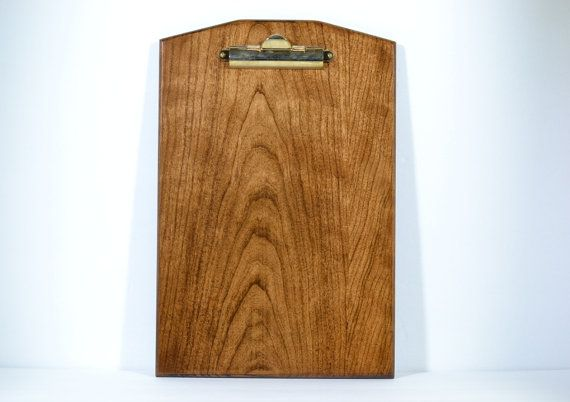 Wood Clipboard, Handmade Solid Cherry with Rich Tobacco Stain