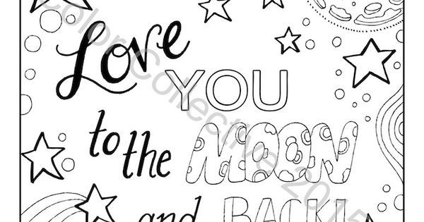 Adult Coloring Page Digital Download / Love You To The Moon And Back ...