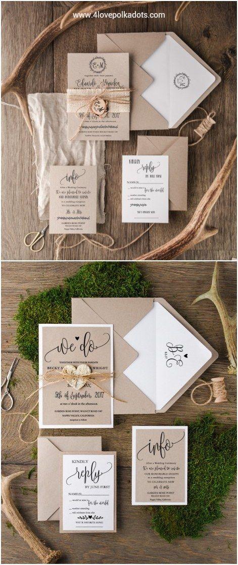Rustic kraft paper wedding invitations