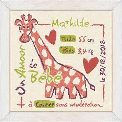 broderie au point de croix tableau de naissance la girafe fille