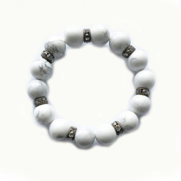 Beautiful bracelet made from chunky white stones complimented by sparkling rondelle's.   Made in the UK  http://www.madecloser.co.uk/jewellery-watches/lkrosa-pegasus-bracelet  #ukmade #buylocal #madecloser