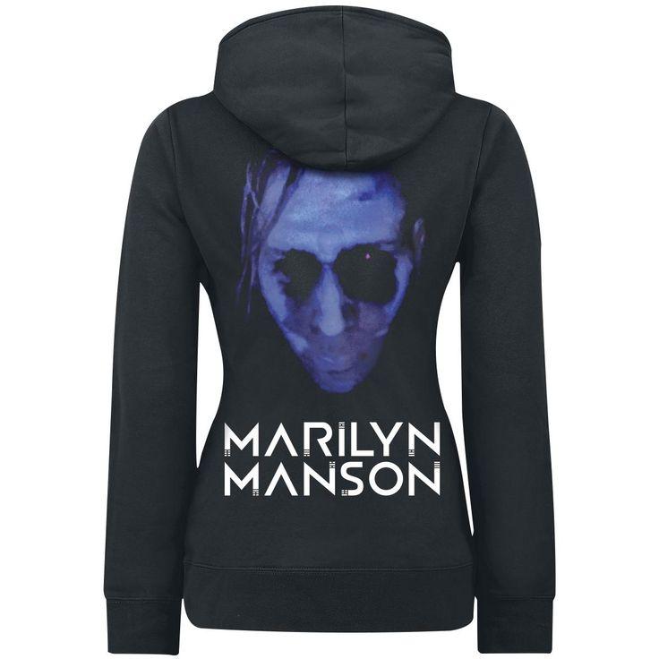 """Felpa donna """"Blue In The Face"""" di #MarilynManson nera con cappuccio con coulisse, orlo e polsini a costine, stampa su fronte e retro."""