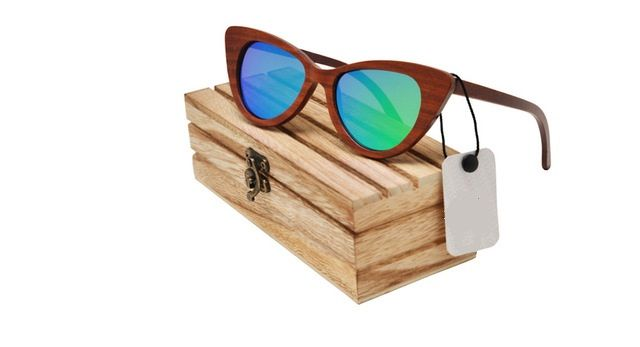 Audrey Sandalwood Collection - Cat Eye Series - Beach Tint Wooden Sunglasses FREE Shipping Worldwide