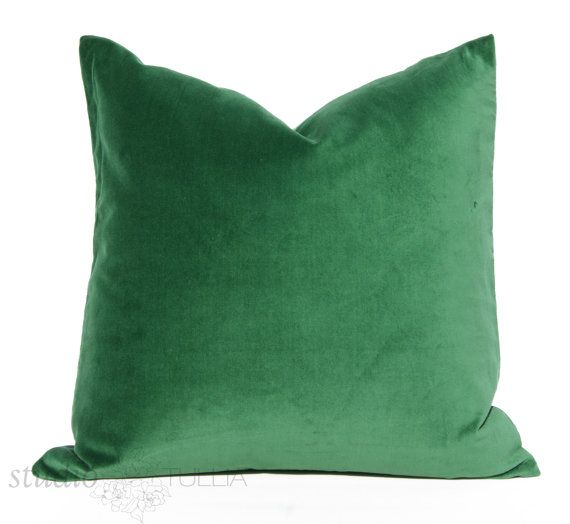 Emerald Green Velvet Pillow Cover - Decorative Pillow Cover - 20 inch - ready to ship