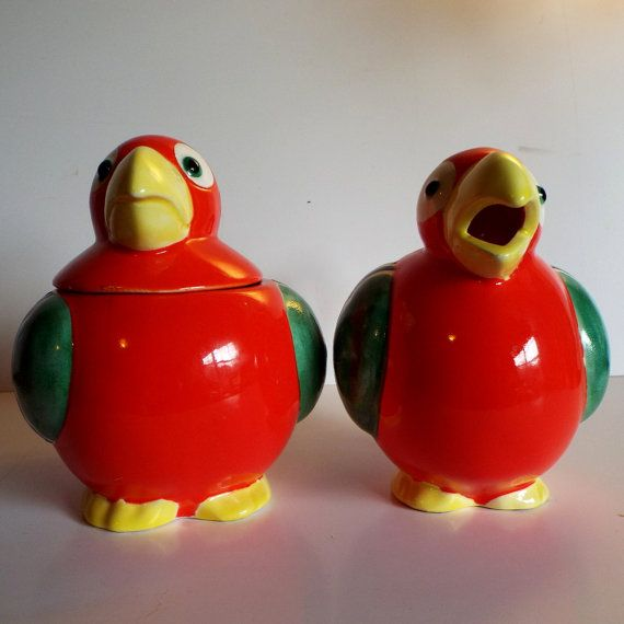 Vintage Tropical Birds Sugar and Creamer Set  LOUD by JJsBottega