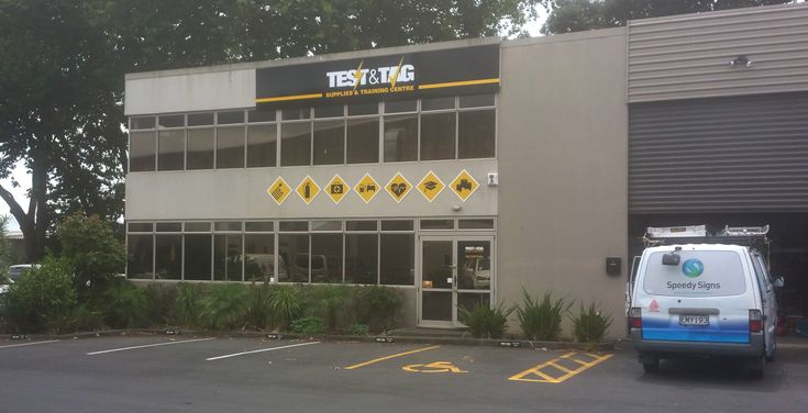 ACM building signage for Test & Tag by Speedy Signs Newton