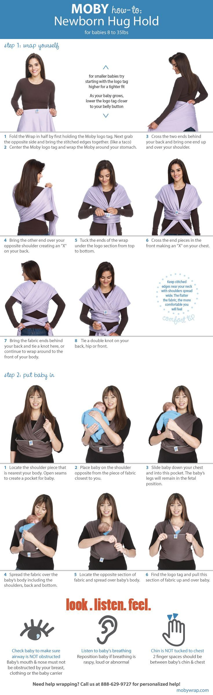 How to: the Newborn Hug Hold. Check out our youtube channel for video! #mobywrap #babywearing