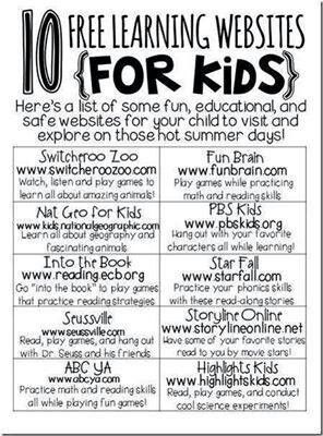 10 Free Learning Websites for Kids like my facebook page at https://www.facebook.com/ReadingCorner