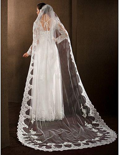 Wedding Veils Women's Elegant Tulle One-tier Lace Applique Edge Veils – EUR € 58.89