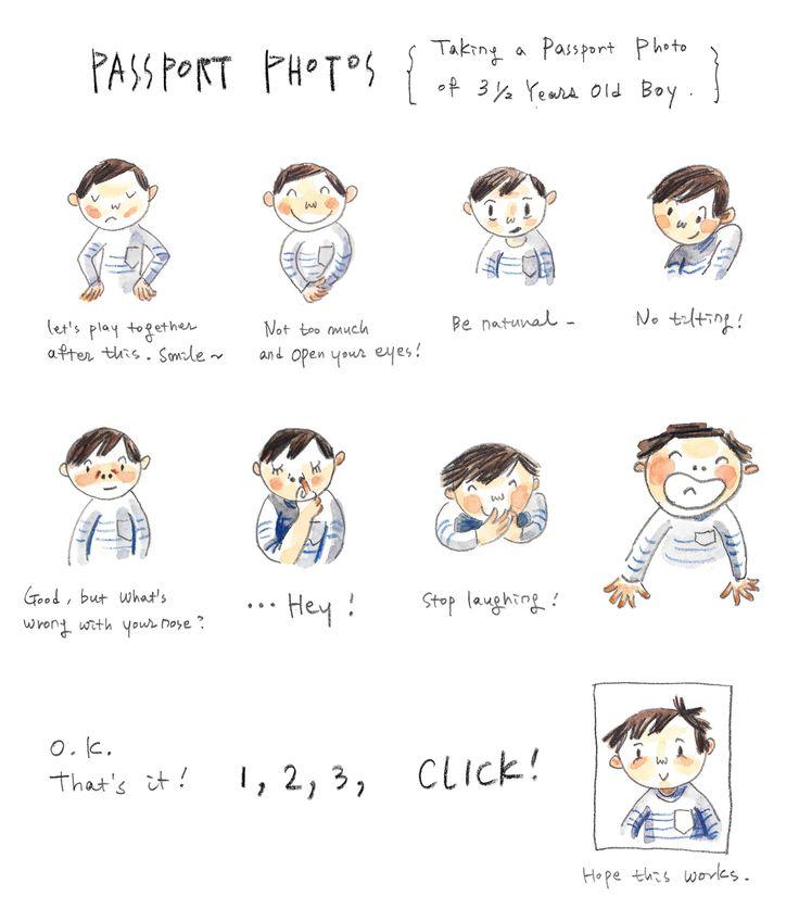 kid's passport photos, kids illustration