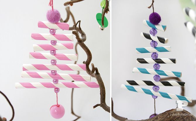 Paper-straw ornaments - think Amelia would like decorating the straws in her own way! http://pysselbolaget.se/2012/11/13/sugrorsgranarpaper-straw-ornaments/