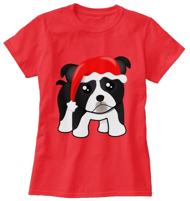 Cute Christmas Boston Terrier