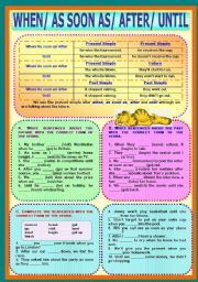 English worksheet: Time Clauses - When/ As soon as/ After/ Until