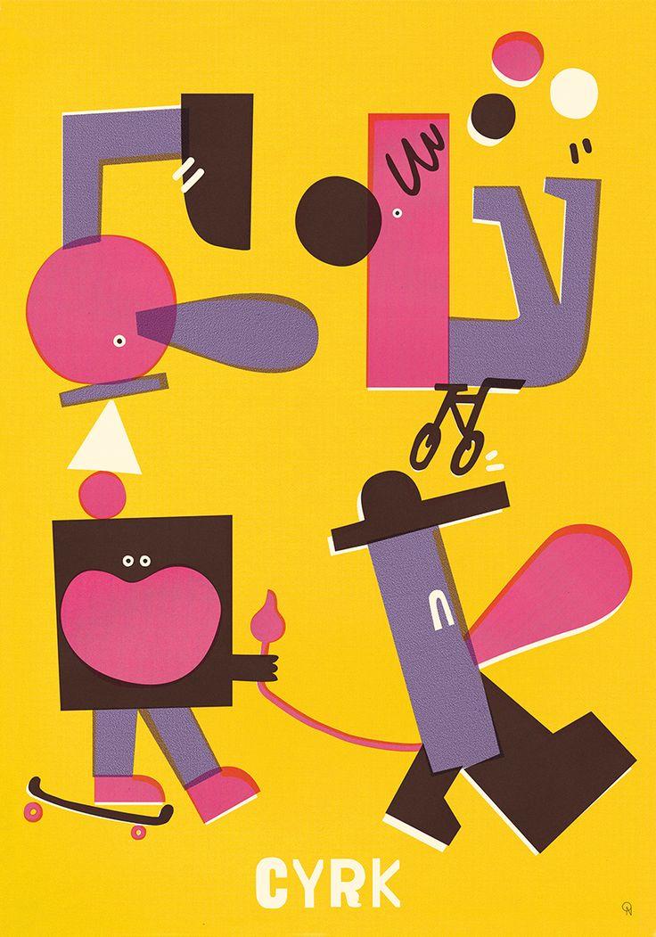 Fun blobby blocky people illustration. Ola Niepsuj, Cyrk, 2013