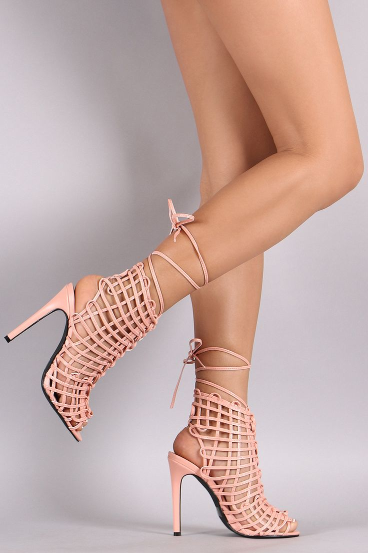 Womens Vogue Pointed Toe Letters Mesh High Heel Lace Up Stilettos Shoes Boots