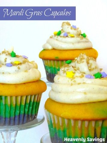 Celebrate Mardi Gras with these festive Mardi Gras Cupcakes
