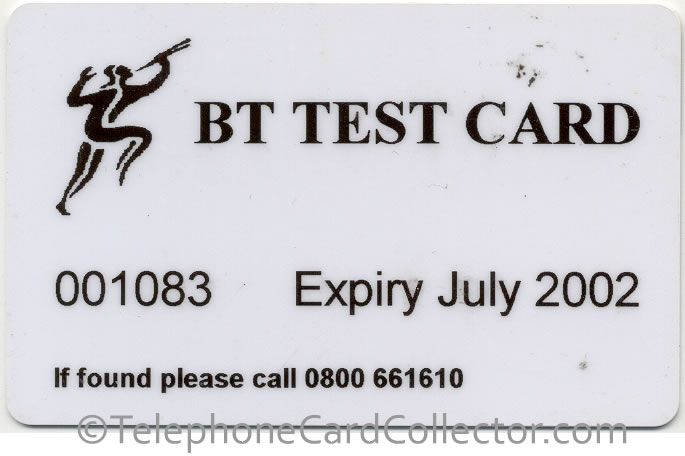 BT Magnetic Test Card (MAG002), this card was used to test the credit card readers on BT Payphones. Read more and see photos of the reverse of the card: http://www.telephonecardcollector.com/british-telecom-test-cards.htm#magnetic-test-card