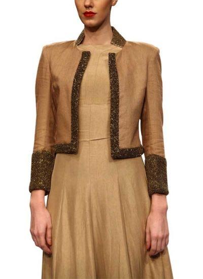 Olive Linen Jacket by Vijay Balhara | strandofsilk.com | Indian Designers