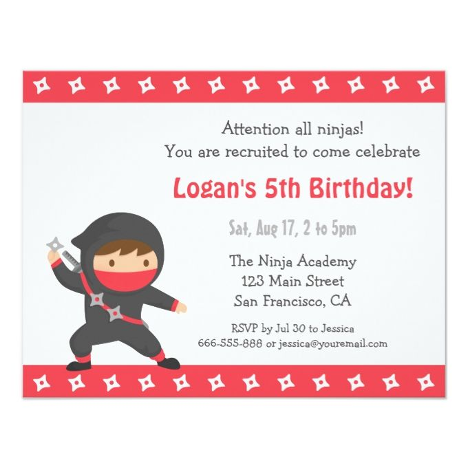 1390 best kids birthday invitations images on pinterest birthday cute ninja kids birthday party invitations stopboris Image collections