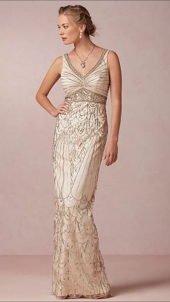 SUE WONG  Gatsby OLD HOLLYWOOD 1920's Champagne Sequin Wedding Ball Gown 10 #SUEWONG #WEDDINGBRIDALBALLGOWN #Formal