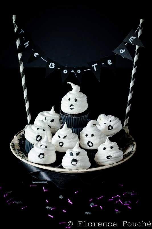 Gourmandises Chroniques: Goûter d'Halloween : Meringues fantômes et mini-ca...