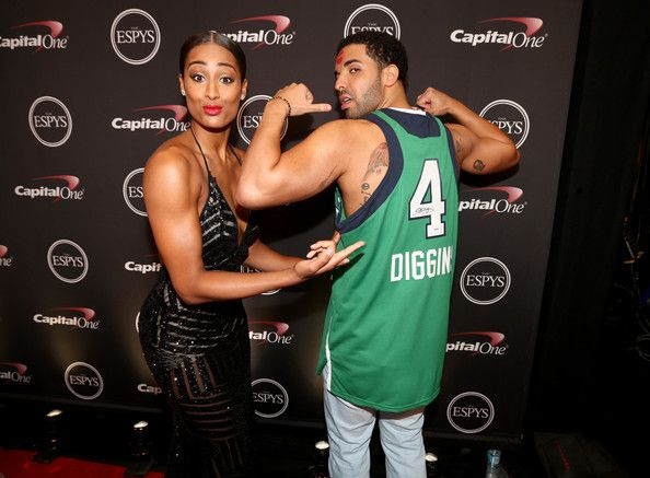 Skylar Diggins and Drake Photos - (L-R) WNBA player Skylar Diggins and ESPYs host Drake backstage at The 2014 ESPYS at Nokia Theatre L.A. Live on July 16, 2014 in Los Angeles, California. - Backstage at the ESPYS
