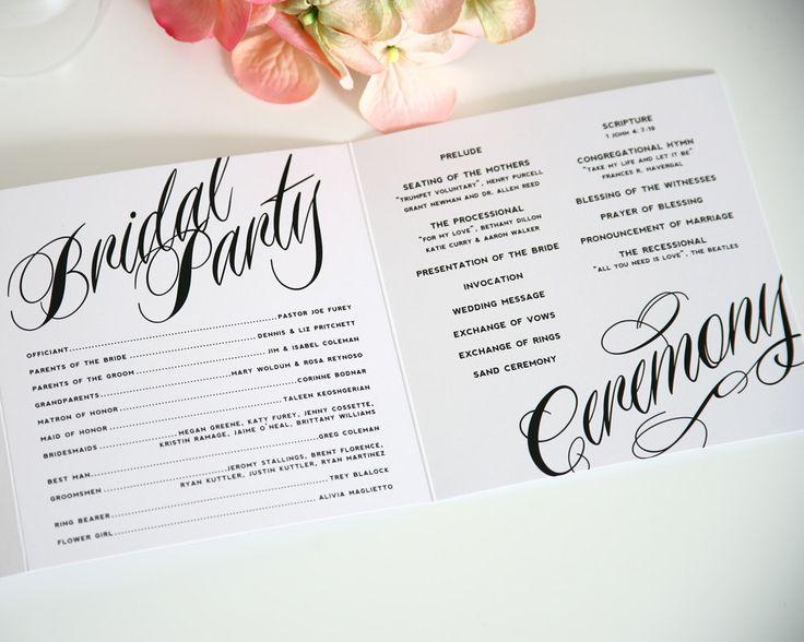Ravishing Script Tri Fold Wedding Programs Sample in Black and White on Pearl Shimmer Luxury Cardstock. $3.50, via Etsy.