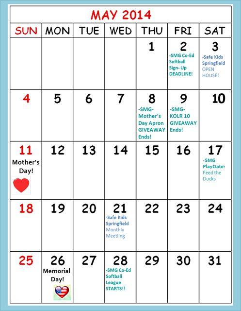 SMG May 2014 Calendar!