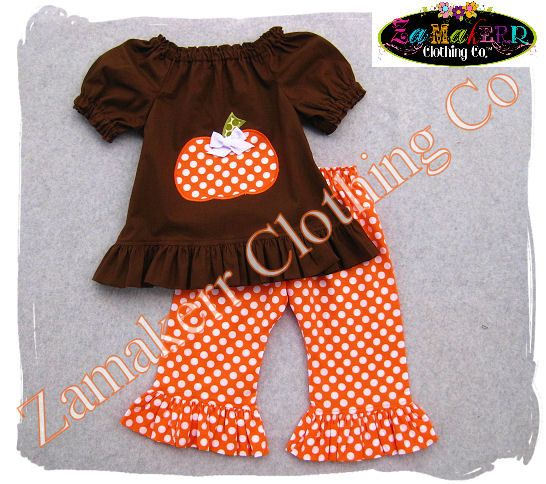 Girl Fall Thanksgiving Pumpkin Outfit - Toddler Baby Turkey Fall Pant Set 3 6 9 12 18 24 month size 2T 2 3T 3 4T 4 5T 5 6 7 8. $44.99, via Etsy.