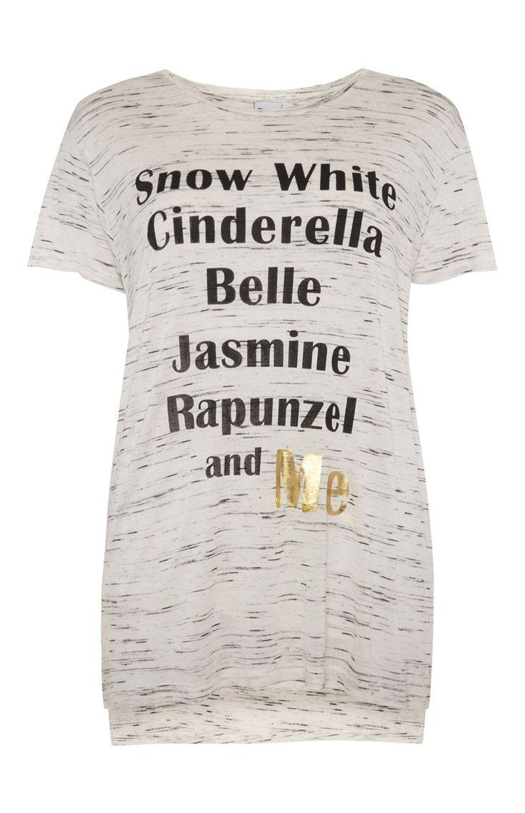 Primark - Grijs T-shirt met Disney Princess-tekst