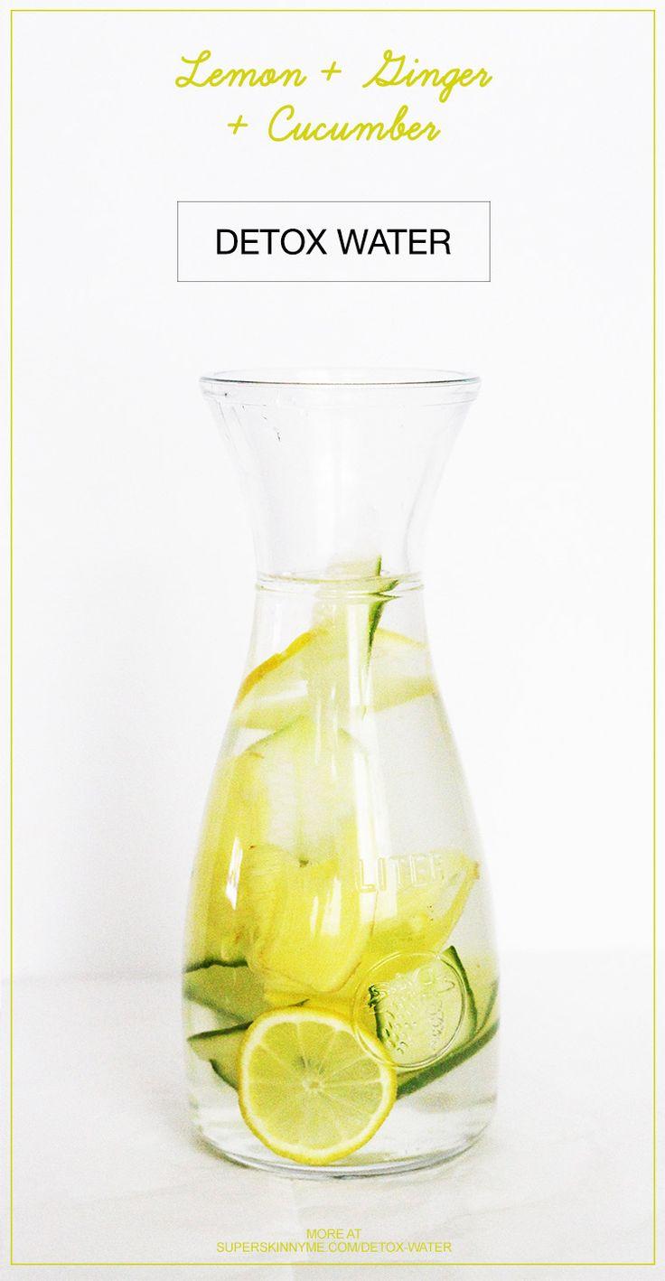 Receta sana desintoxicación de agua con jengibre, pepino y limón