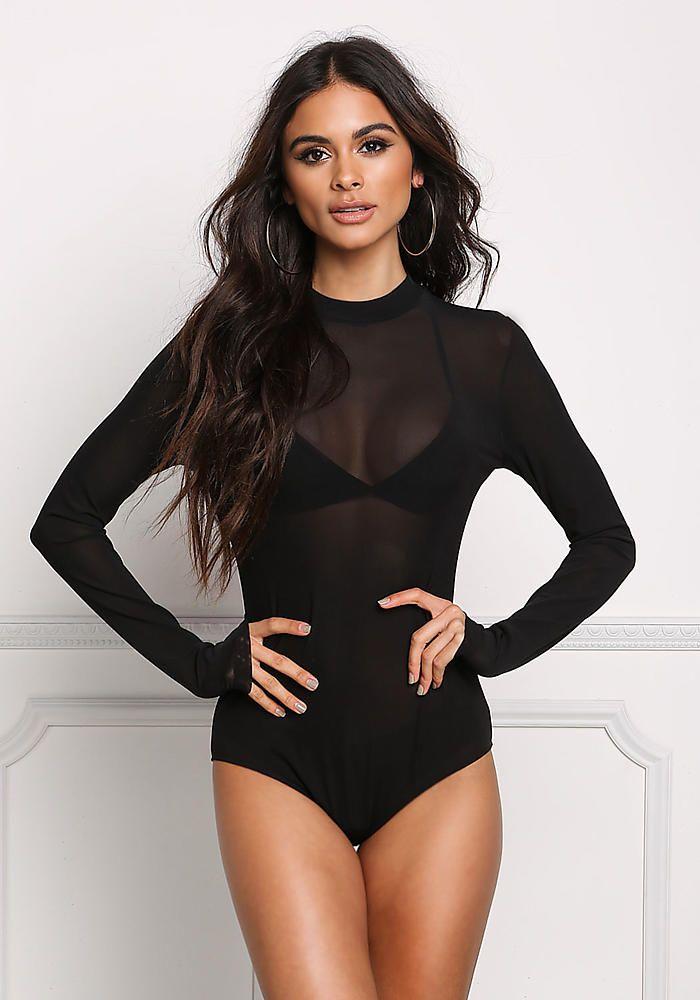 Black Minimalist Mesh Bodysuit - Bodysuits - Tops - Clothes