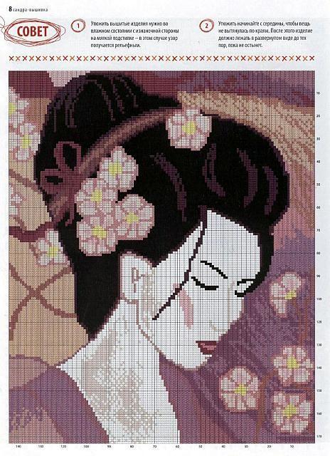 Volto di donna giapponese con fiori tra i capelli schema punto croce