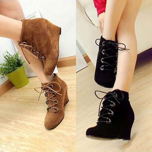 Discount China china wholesale Fashion Women's Sweet Vintage Short Boots  Wedge Heel Lace Up Shoes Bl