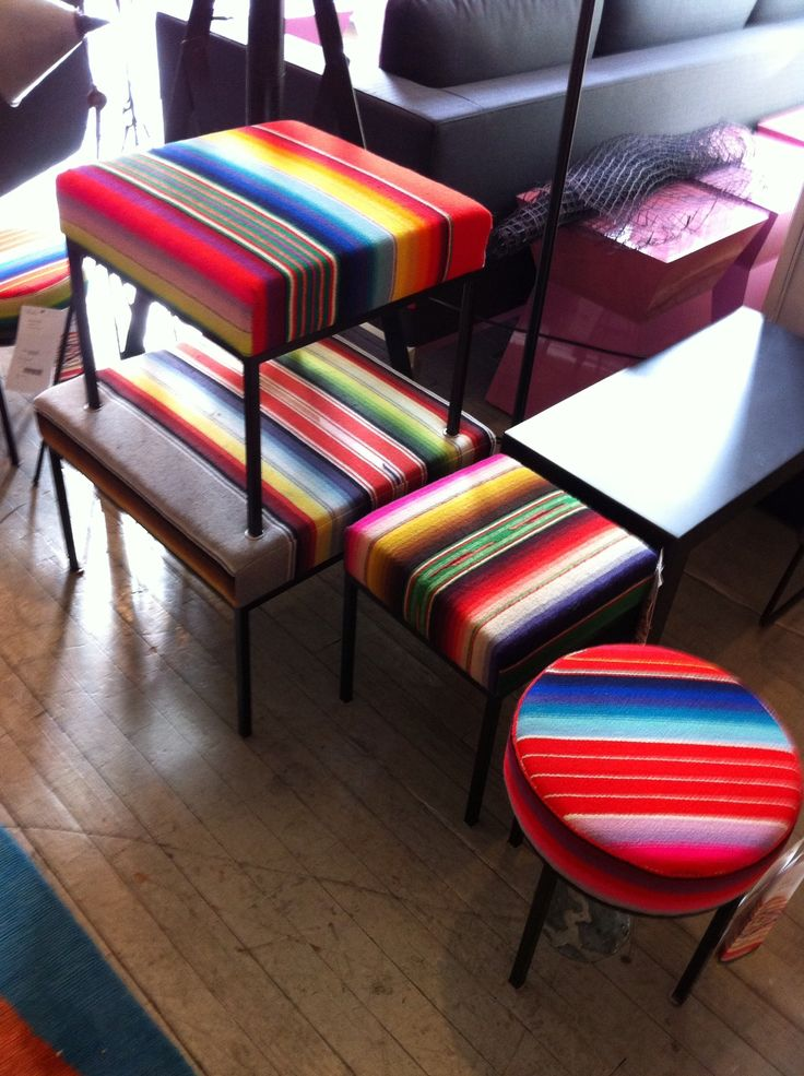 Mexican serape clad benches