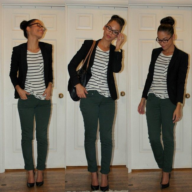 green jeans stripes blazer--love her glasses and hairstyle