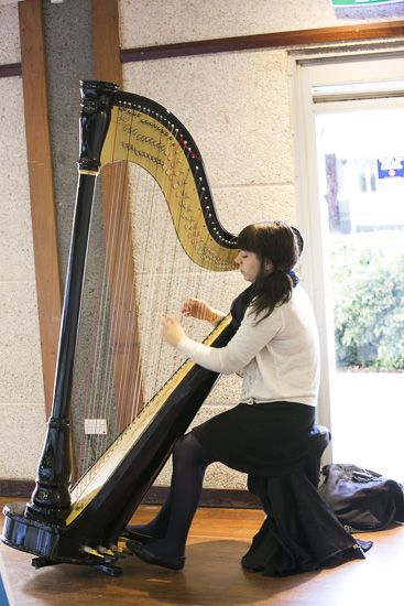 Michelle Smith plays the harp at a City of Melville grant supported community group, Connect Groups, to hold the event 'Speed Dating Towards Growing Our Community'.