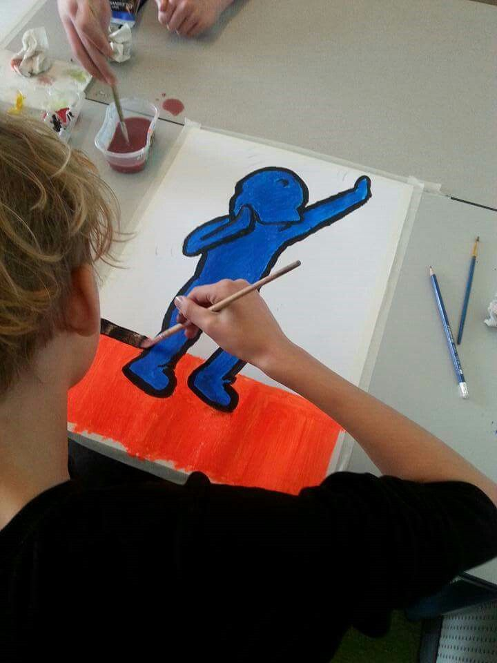 The dab, Keith Haring- style! Art with kids, acryl painting