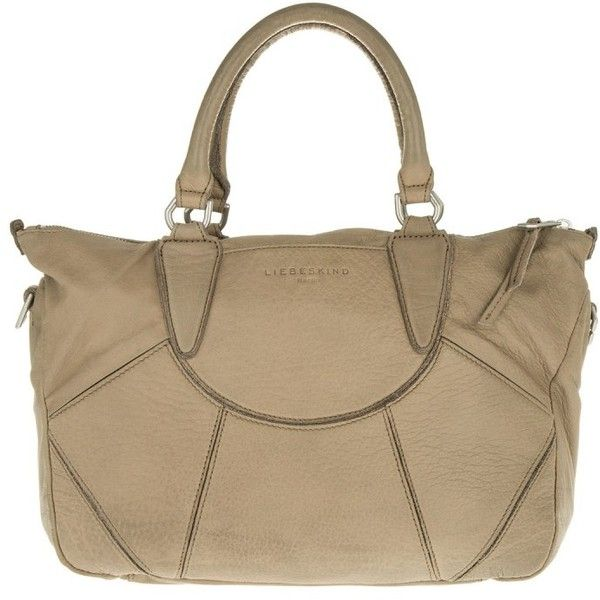 Liebeskind EstherE Vintage Tosa Inu Brown in beige, Handle Bags ($260) ❤ liked on Polyvore featuring bags, beige, vintage bags, liebeskind, leather handle bag, leather zipper bag and brown bag