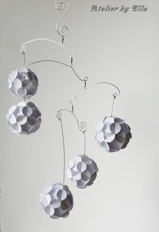 White Paper balls Hanging Mobile.