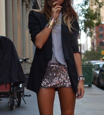 Boyfriend blazers + sequins. I'd have to add an inch to this skirt, but I love the combo