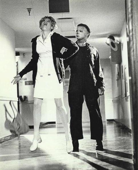 Halloween II, 1981. Michael dispatches Nurse Jill Franco (Tawny Moyer).