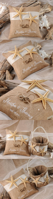 Beach Wedding Starfish Set - Ring Bearer Pillow & Flower Girl Basket #beachwedding #destinationwedding #weddingideas