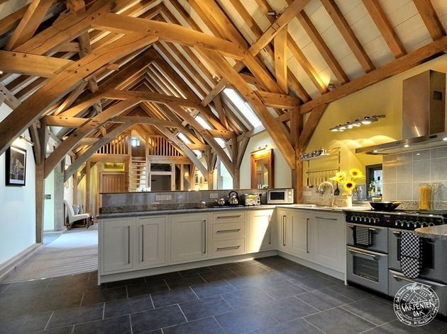25 best ideas about barn home designs on pinterest barn for Exposed beam house plans