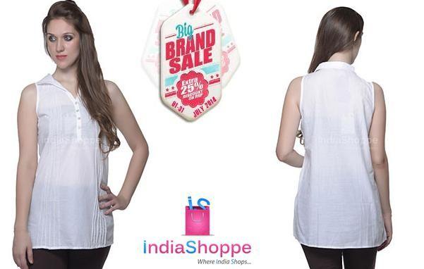 New Arrival @ Indiashoppe. W - Women Cotton Classy Top Pure White. http://goo.gl/cNFl9M