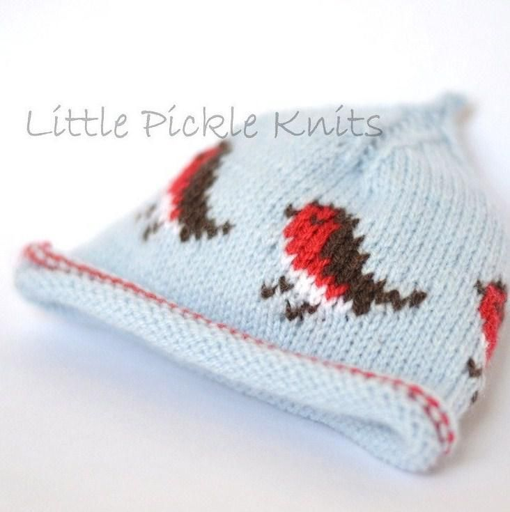 Baby Beanie 'Little Robins' by Independent Designer Linda Whaley from her Little Pickle Knits collection.