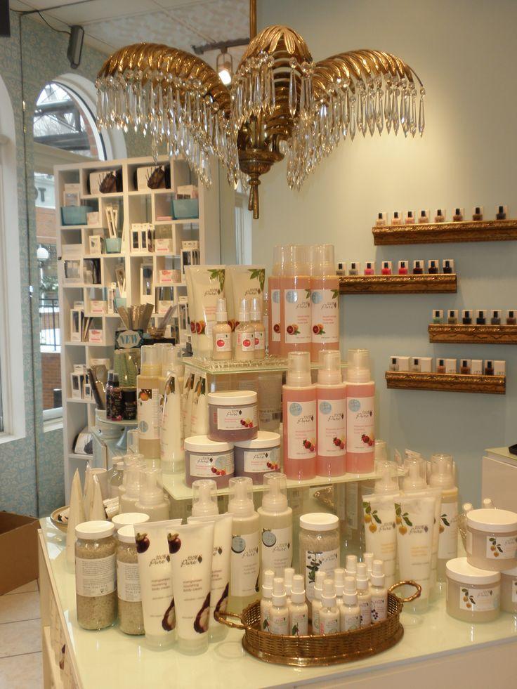 Visual Merchandising for Lux Beauty Boutique in Edmonton, AB by Flourish Design & Merchandising.  Visual merchandising, cosmetics, apothecary