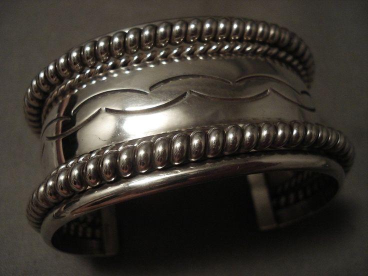 Wide 94 Gram Vintage Navajo Hand Pounded Sterling Silver Bracelet