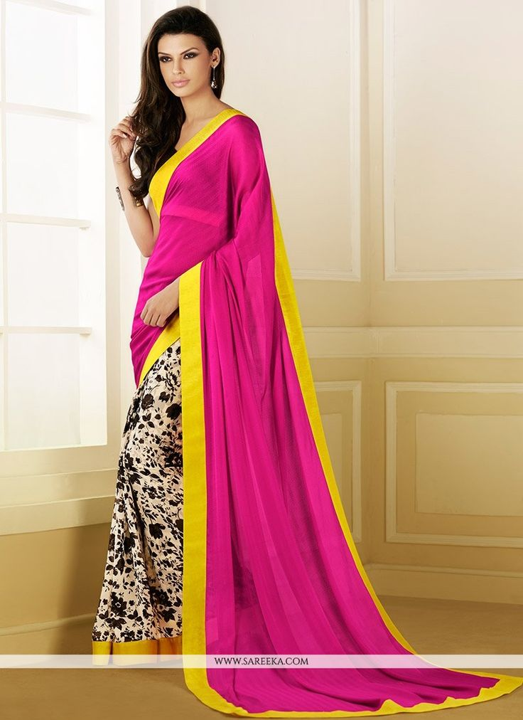 Glorious pink satin georgette half and half saree is design with printed foliage patterns on the first half and self colored stripes on the second half. Vibrant border patch completes the look of the ...